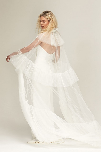 50297d20f22 Savannah Miller Wild Horses Bridal Collection Dramatic tulle opera cape.  Back view.