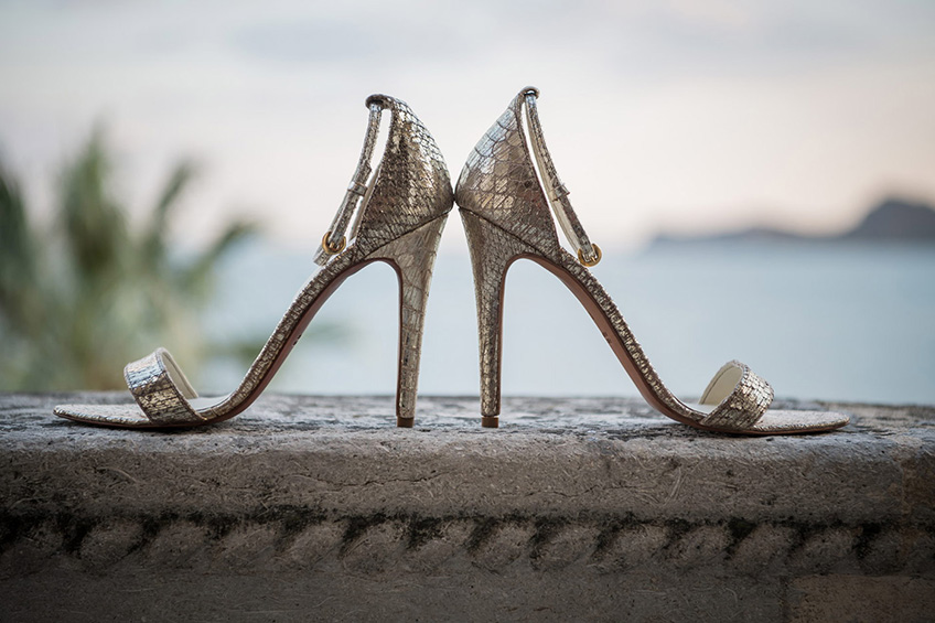 Made in Italy hand-made luxury gold Reptile High Heels Sandals.